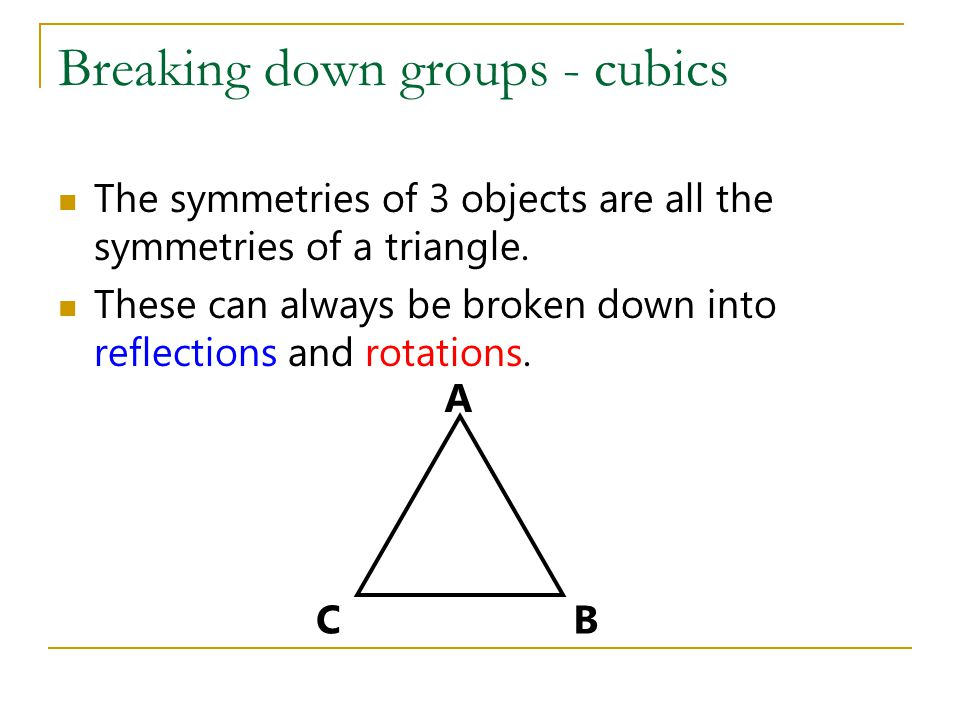 Breaking down groups - cubics The symmetries of 3 objects are all the symmetries of a triangle.
