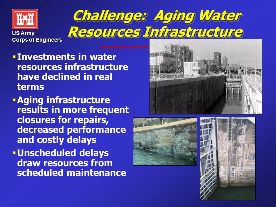 US Army Corps of Engineers Challenge: Aging Water Resources Infrastructure Challenge: Aging Water Resources Infrastructure   Investments in water re