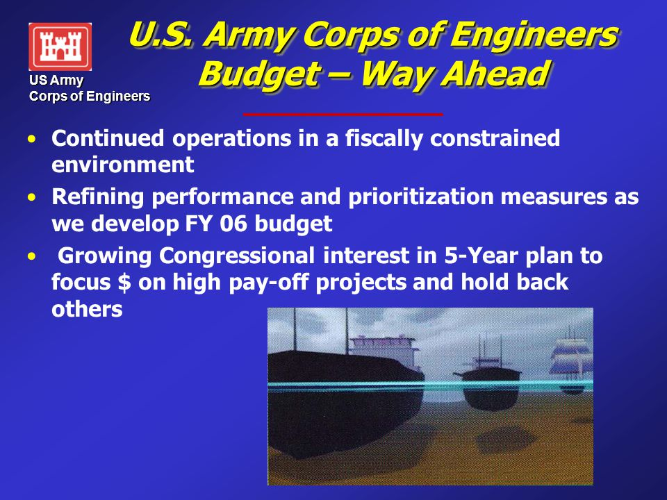 US Army Corps of Engineers U.S. Army Corps of Engineers Budget – Way Ahead Continued operations in a fiscally constrained environment Refining perform