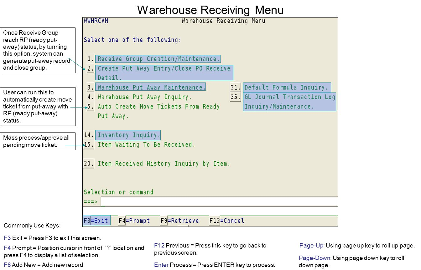 Warehouse Receiving Menu F3 Exit = Press F3 to exit this screen.