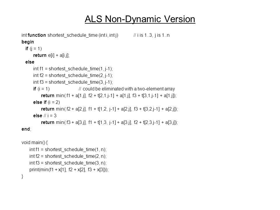 ALS Non-Dynamic Version int function shortest_schedule_time (int i, int j)// i is 1..3, j is 1..n begin if (j = 1) return e[i] + a[i,j]; else int f1 = shortest_schedule_time(1, j-1); int f2 = shortest_schedule_time(2, j-1); int f3 = shortest_schedule_time(3, j-1); if (i = 1) // could be eliminated with a two-element array return min( f1 + a[1,j], f2 + t[2,1,j-1] + a[1,j], f3 + t[3,1,j-1] + a[1,j]); else if (i = 2) return min( f2 + a[2,j], f1 + t[1,2, j-1] + a[2,j], f3 + t[3,2,j-1] + a[2,j]); else // i = 3 return min( f3 + a[3,j], f1 + t[1,3, j-1] + a[3,j], f2 + t[2,3,j-1] + a[3,j]); end; void main() { int f1 = shortest_schedule_time(1, n); int f2 = shortest_schedule_time(2, n); int f3 = shortest_schedule_time(3, n); print(min(f1 + x[1], f2 + x[2], f3 + x[3])); }