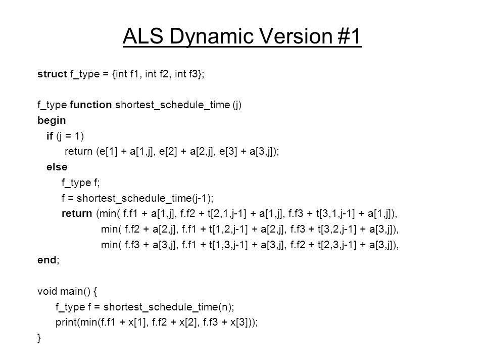 ALS Dynamic Version #1 struct f_type = {int f1, int f2, int f3}; f_type function shortest_schedule_time (j) begin if (j = 1) return (e[1] + a[1,j], e[2] + a[2,j], e[3] + a[3,j]); else f_type f; f = shortest_schedule_time(j-1); return (min( f.f1 + a[1,j], f.f2 + t[2,1,j-1] + a[1,j], f.f3 + t[3,1,j-1] + a[1,j]), min( f.f2 + a[2,j], f.f1 + t[1,2,j-1] + a[2,j], f.f3 + t[3,2,j-1] + a[3,j]), min( f.f3 + a[3,j], f.f1 + t[1,3,j-1] + a[3,j], f.f2 + t[2,3,j-1] + a[3,j]), end; void main() { f_type f = shortest_schedule_time(n); print(min(f.f1 + x[1], f.f2 + x[2], f.f3 + x[3])); }