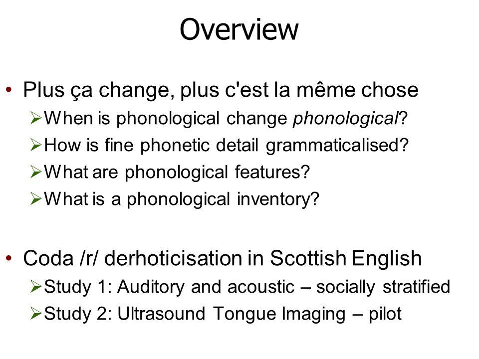 Overview Plus ça change, plus c est la même chose  When is phonological change phonological.