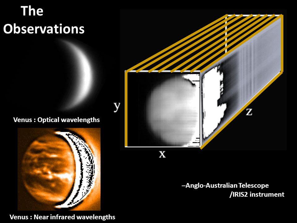 The Observations Venus : Near infrared wavelengths Venus : Optical wavelengths –Anglo-Australian Telescope /IRIS2 instrument