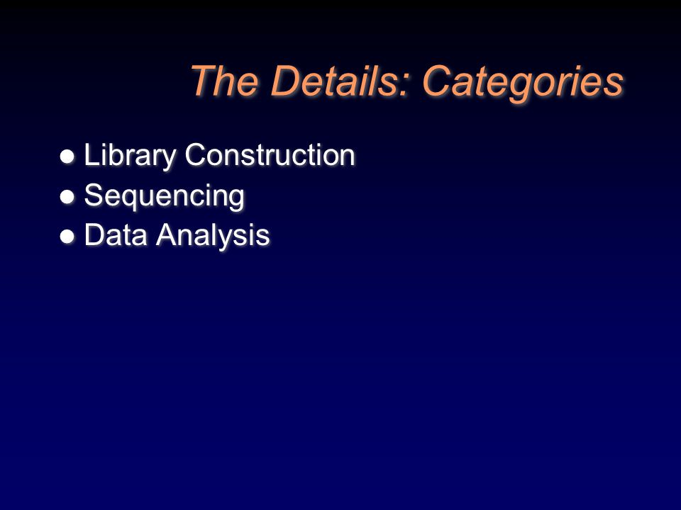 The Details: Categories Library Construction Sequencing Data Analysis Library Construction Sequencing Data Analysis