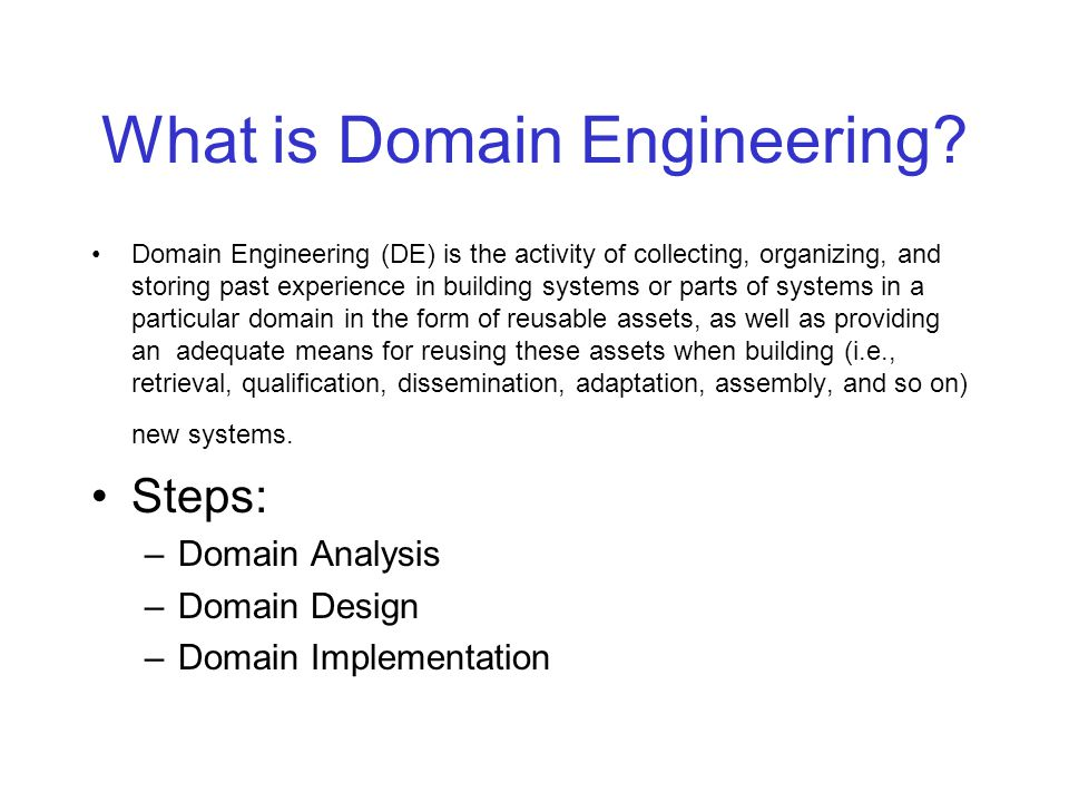 Software Development based on DE Domain Engineering Application Engineering Domain Analysis Domain Design Domain Implem.