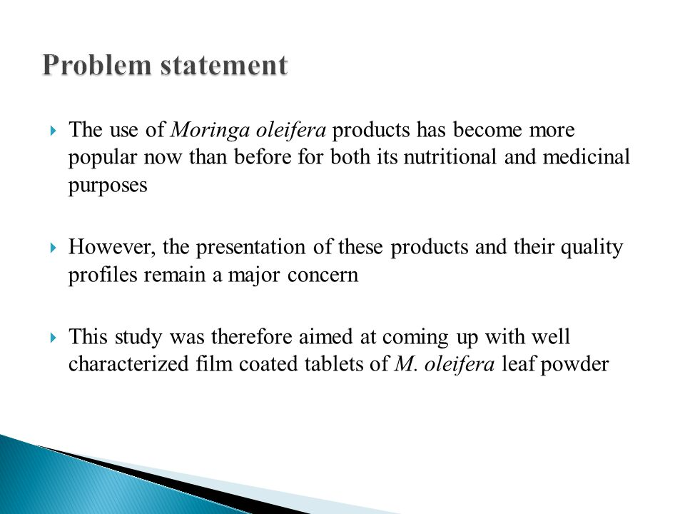  The use of Moringa oleifera products has become more popular now than before for both its nutritional and medicinal purposes  However, the presentation of these products and their quality profiles remain a major concern  This study was therefore aimed at coming up with well characterized film coated tablets of M.