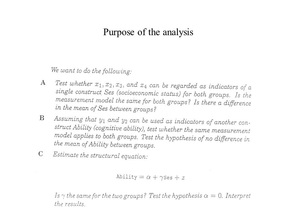 Purpose of the analysis