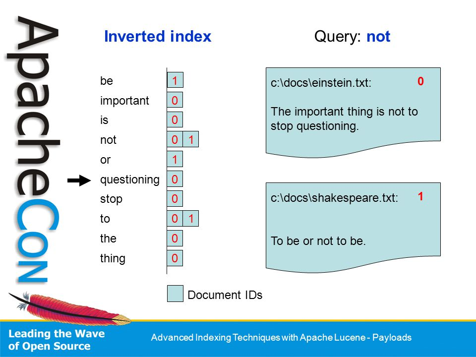 Advanced Indexing Techniques with Apache Lucene - Payloads Analyzer: final byte BoldBoost = 5; … Token token = new Token(…); … If (isBold) { token.setPayload( new Payload(new byte[] {BoldBoost})); } … return token; Example: BoostingTermQuery