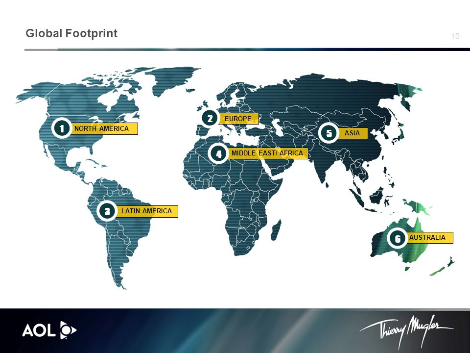 10 Global Footprint NORTH AMERICA 1 MIDDLE EAST/ AFRICA 4 AUSTRALIA 65 ASIA LATIN AMERICA 3 EUROPE 2