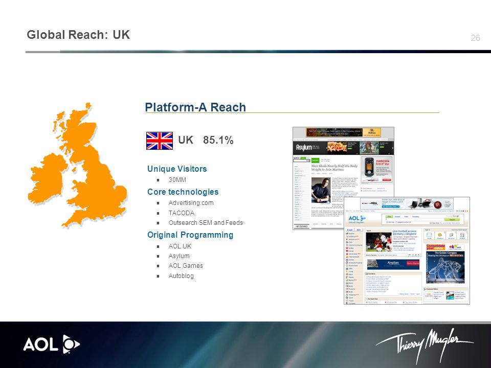 26 Platform-A Reach UK 85.1% Unique Visitors 30MM Core technologies Advertising.com TACODA Outsearch SEM and Feeds Original Programming AOL UK Asylum AOL Games Autoblog Global Reach: UK