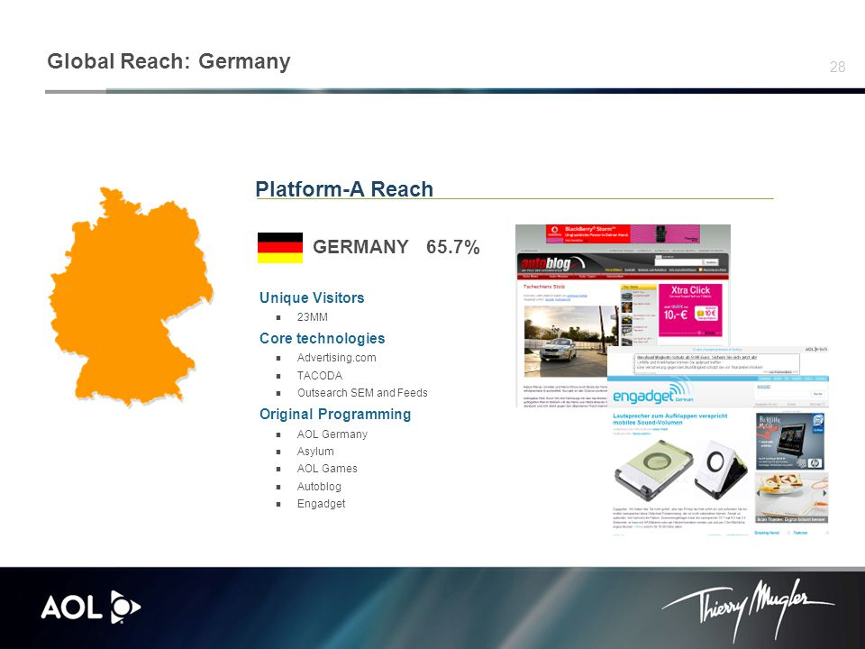 28 Platform-A Reach GERMANY 65.7% Unique Visitors 23MM Core technologies Advertising.com TACODA Outsearch SEM and Feeds Original Programming AOL Germany Asylum AOL Games Autoblog Engadget Global Reach: Germany