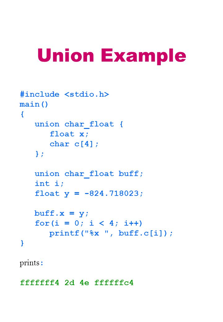 Union Example #include main() { union char_float { float x; char c[4]; }; union char_float buff; int i; float y = -824.718023; buff.x = y; for(i = 0; i < 4; i++) printf( %x , buff.c[i]); } prints : fffffff4 2d 4e ffffffc4