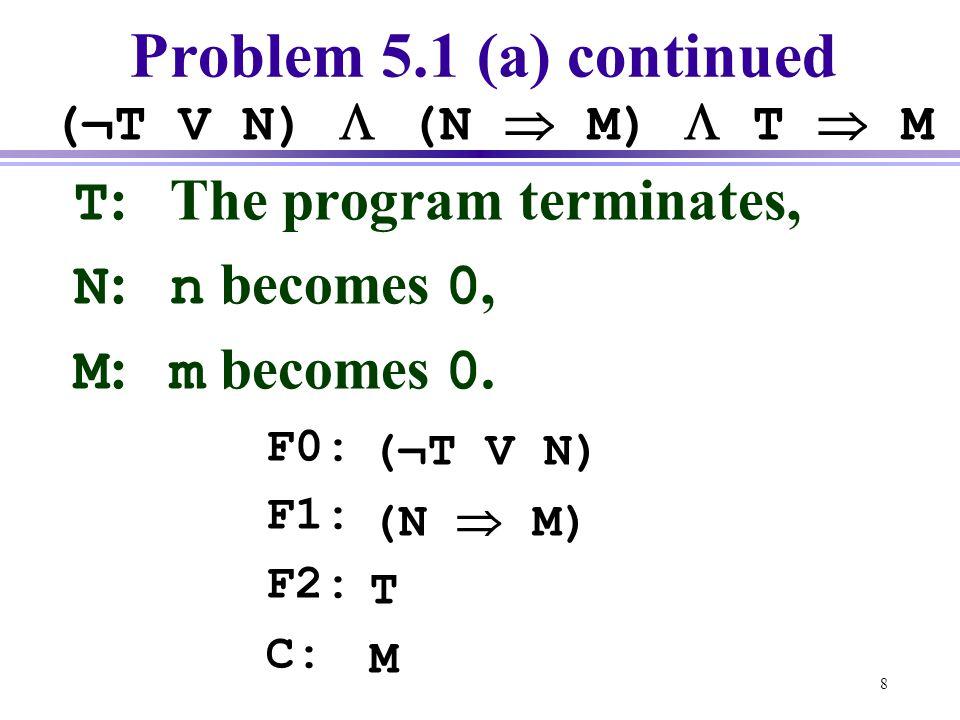 8 Problem 5.1 (a) continued T :The program terminates, N : n becomes 0, M : m becomes 0. F0: F1: F2: C: (¬T V N)  (N  M)  T  M (¬T V N) (N  M) T