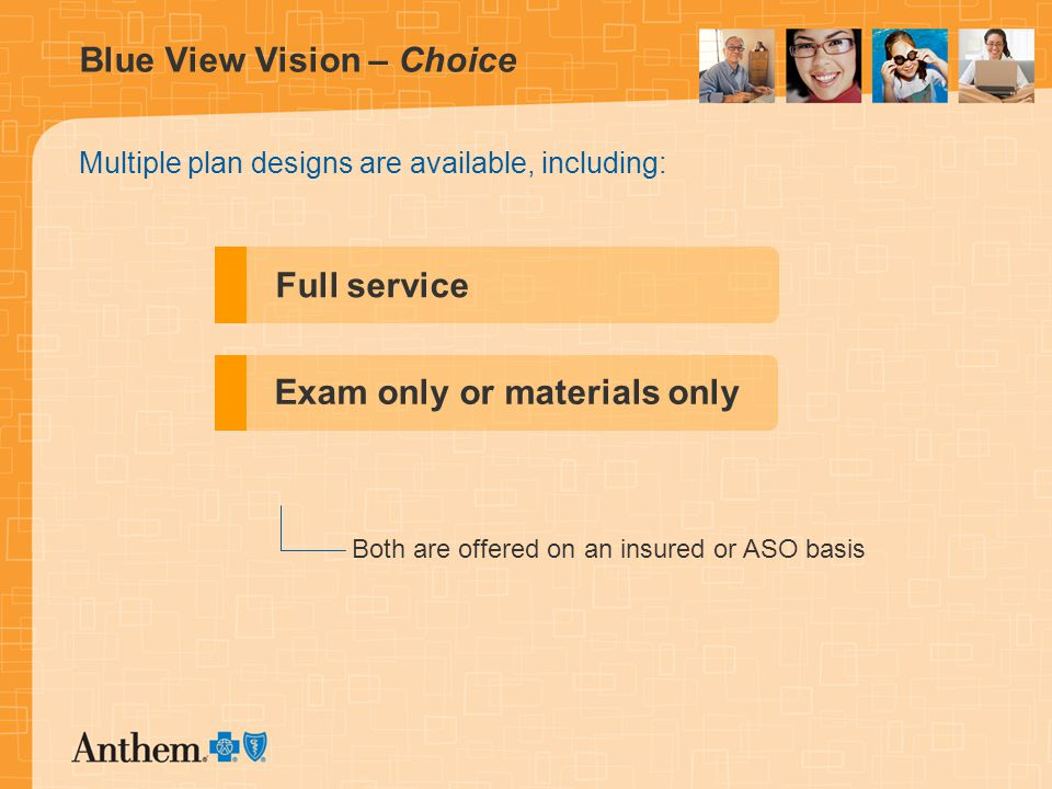 Blue View Vision – Choice Multiple plan designs are available, including: Full service Exam only or materials only Both are offered on an insured or ASO basis
