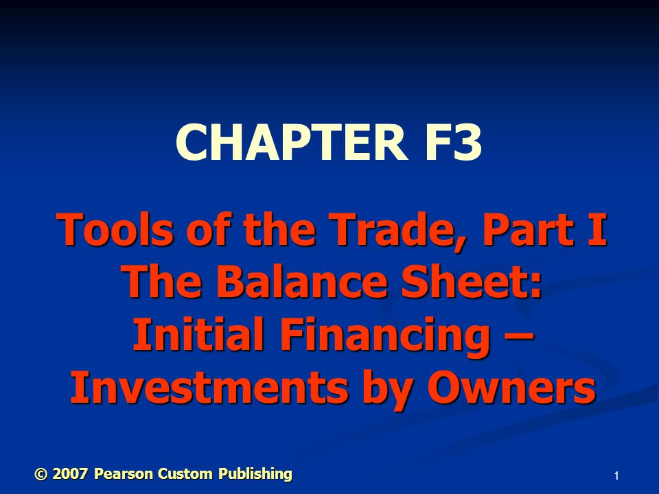 12 © 2007 Pearson Custom Publishing The Accounting Equation ASSETS = LIABILITIES + OWNERS' EQUITY ASSETS = LIABILITIES + OWNERS' EQUITY Things We Have = What We Owe + What We Own Things We Have = What We Owe + What We Own Example: You own a house.