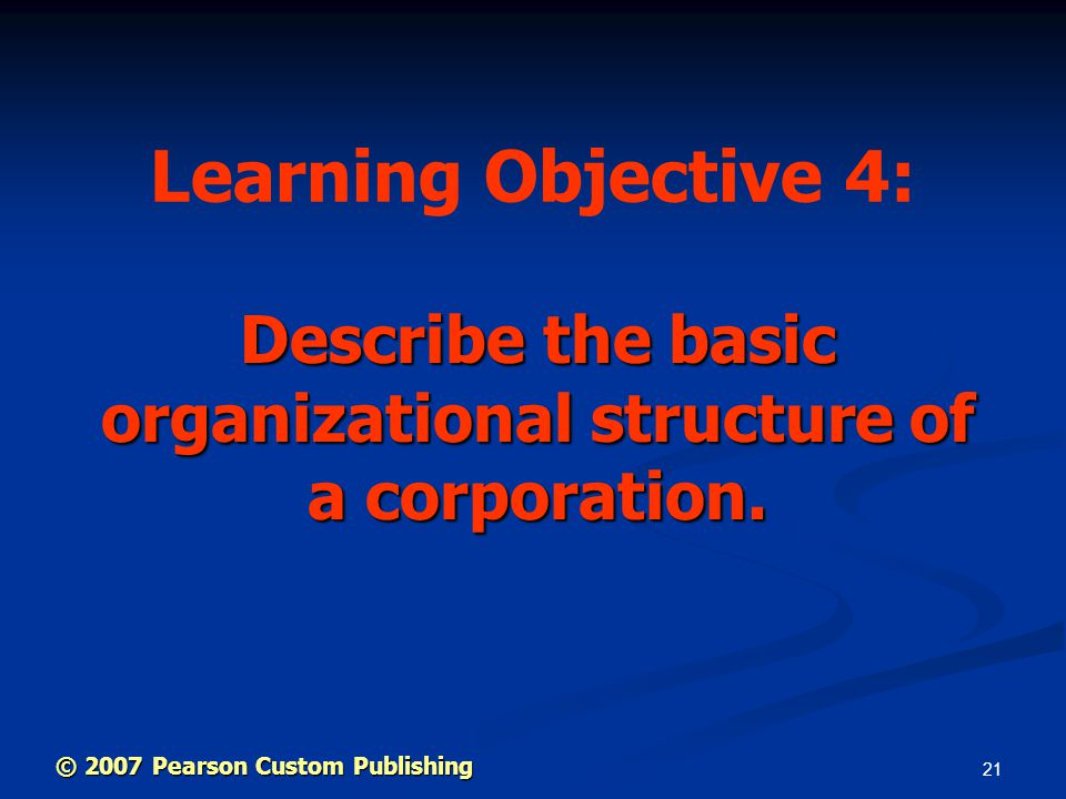 21 Describe the basic organizational structure of a corporation.