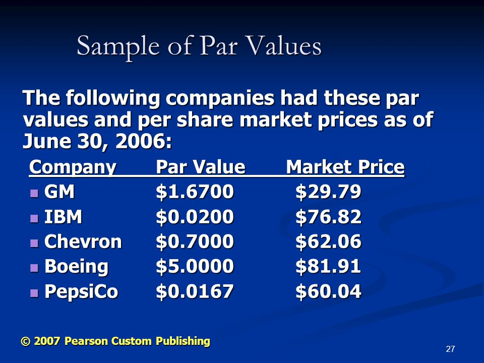 27 © 2007 Pearson Custom Publishing Sample of Par Values The following companies had these par values and per share market prices as of June 30, 2006: The following companies had these par values and per share market prices as of June 30, 2006: Company Par Value Market Price GM $1.6700$29.79 GM $1.6700$29.79 IBM $ $76.82 IBM $ $76.82 Chevron $0.7000$62.06 Chevron $0.7000$62.06 Boeing $ $81.91 Boeing $ $81.91 PepsiCo $ $60.04 PepsiCo $ $60.04
