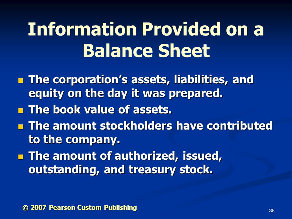38 Information Provided on a Balance Sheet The corporation's assets, liabilities, and equity on the day it was prepared.