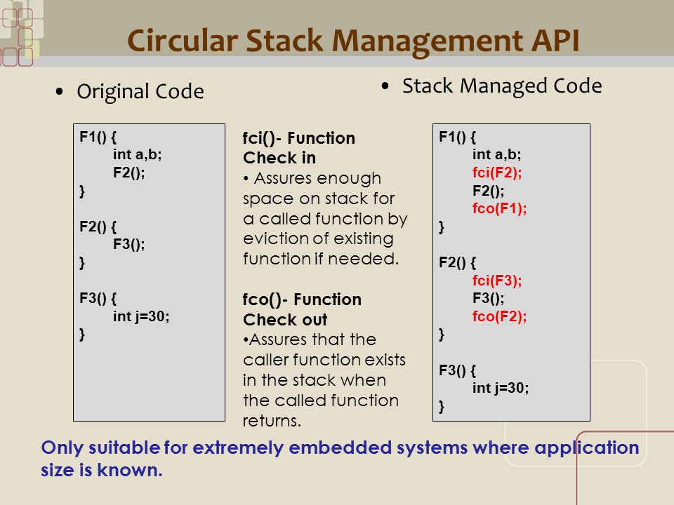 CML Circular Stack Management API Original Code F1() { int a,b; F2(); } F2() { F3(); } F3() { int j=30; } Only suitable for extremely embedded systems where application size is known.