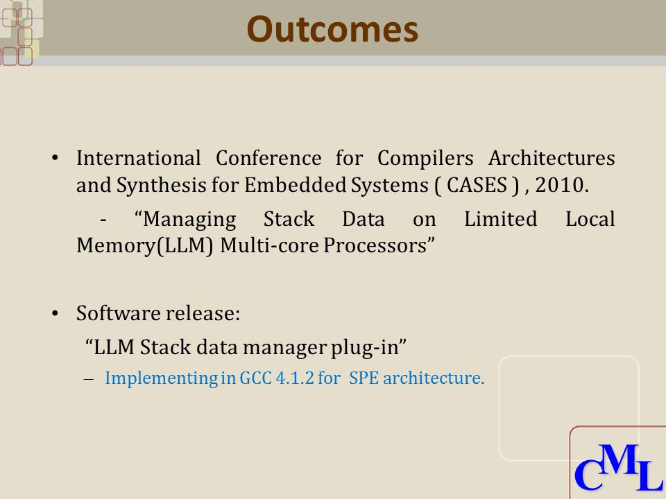 CML CML Outcomes International Conference for Compilers Architectures and Synthesis for Embedded Systems ( CASES ), 2010.