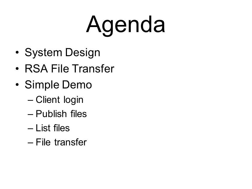 System Design RSA File Transfer Simple Demo –Client login –Publish files –List files –File transfer Agenda