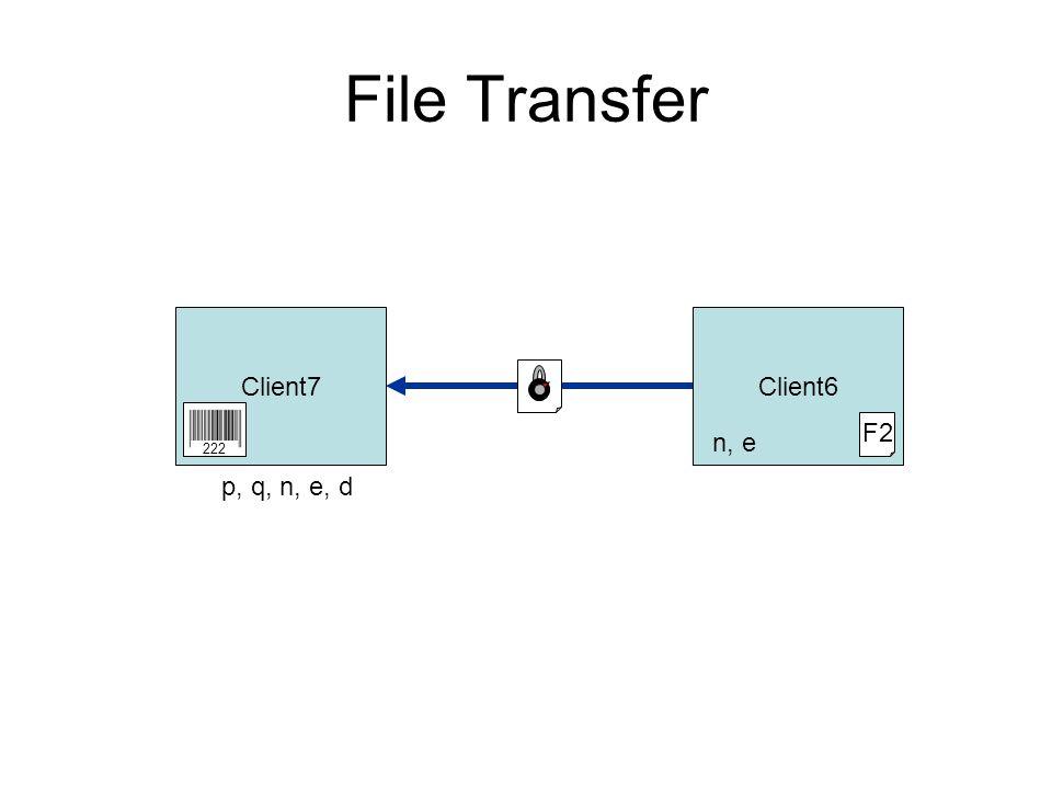 File Transfer Client7Client6 F2 n, e 222 p, q, n, e, d