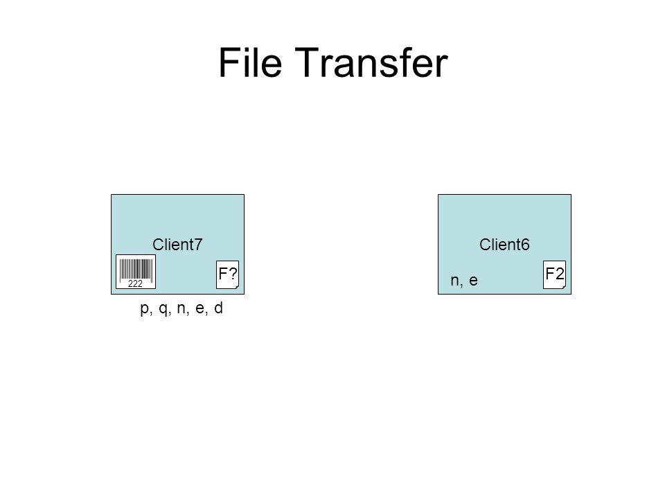 File Transfer Client7Client6 F2 n, e 222 p, q, n, e, d F?