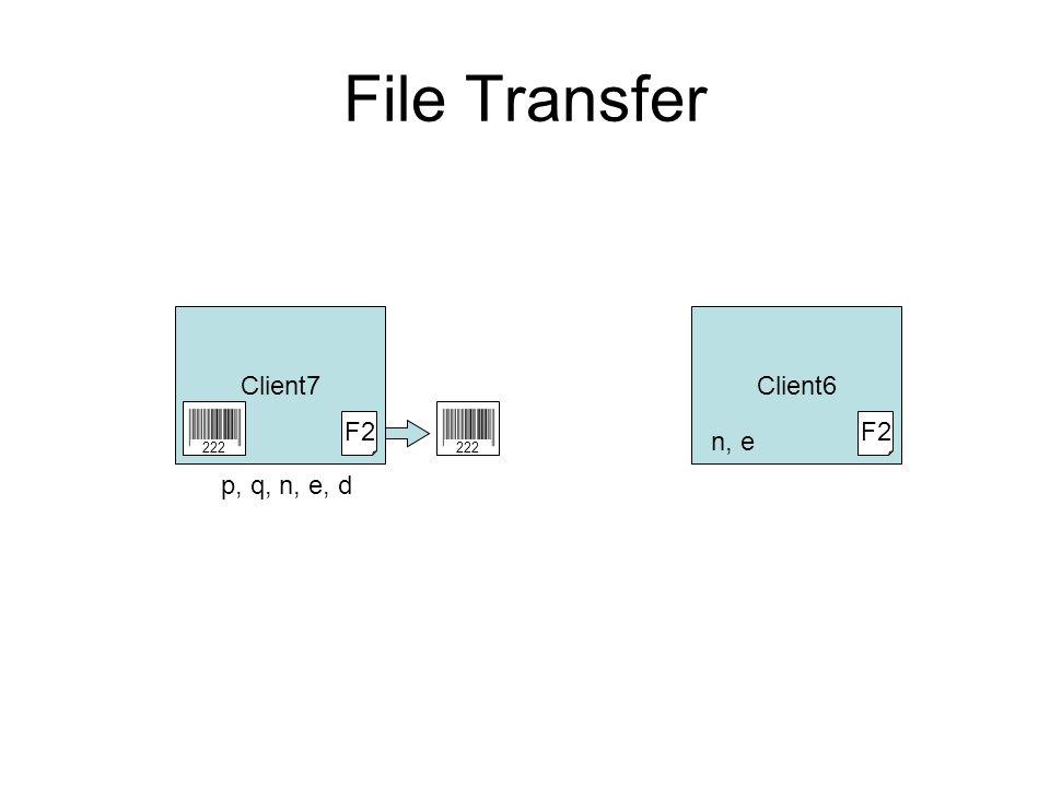File Transfer Client7Client6 F2 n, e 222 p, q, n, e, d F2 222