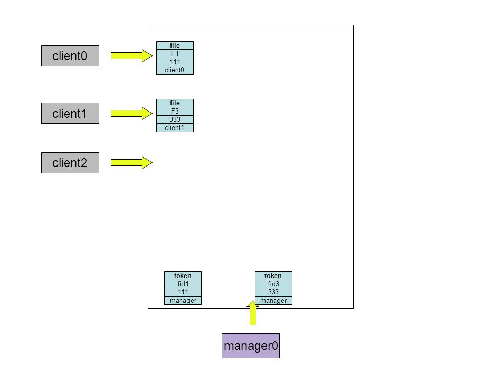 manager0 file F1 111 client0 token fid1 111 file F3 333 client1 token fid3 333 client2 manager