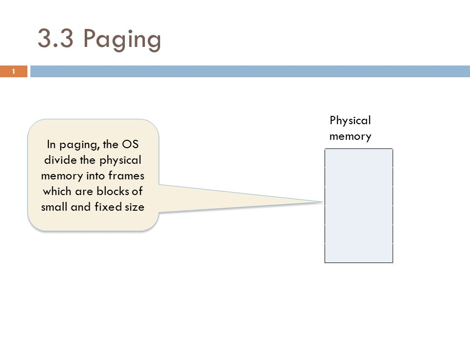 3.3 Paging Logical memory PAGE TABLE Physical memory P0 pageframeAttributes f0 P1 04 f1 P2 13 f2 P3 21 f3 35 f4 f5 2 In paging, the OS divide the physical memory into frames which are blocks of small and fixed size
