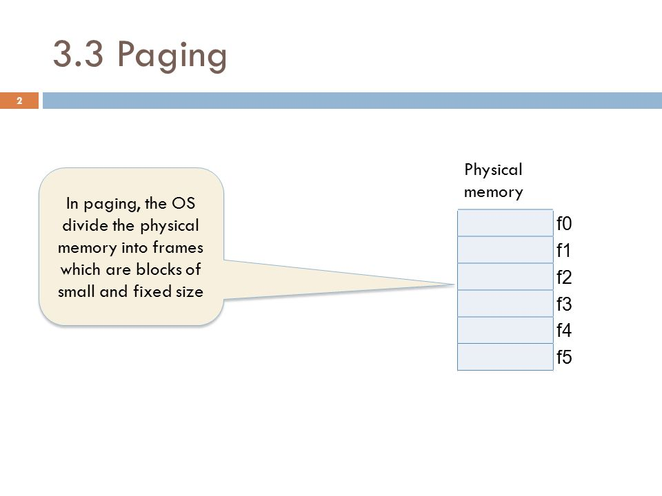 3.3 Paging Logical memory PAGE TABLE Physical memory pageframeAttributes f0 04 f1 13 f2 21 f3 35 f4 f5 3 OS divides also the logical memory (program) into pages which are blocks of size equal to frame size.