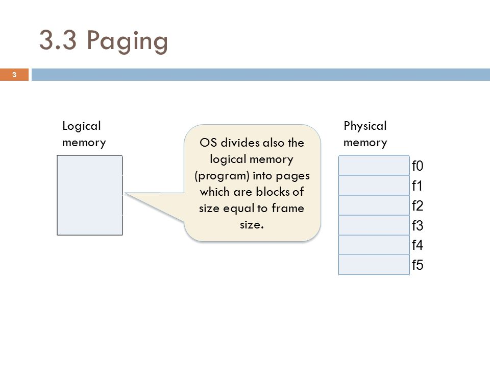 3.3 Paging Logical memory PAGE TABLE Physical memory P0 pageframeAttributes f0 P1 04 f1 P2 13 f2 P3 21 f3 35 f4 f5 4 OS divides also the logical memory (program) into pages which are blocks of size equal to frame size.