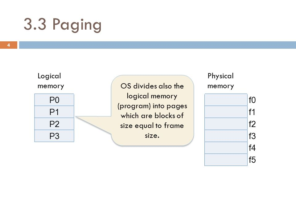 3.4 Segmentation  For logical to physical address mapping, a segment table is used.