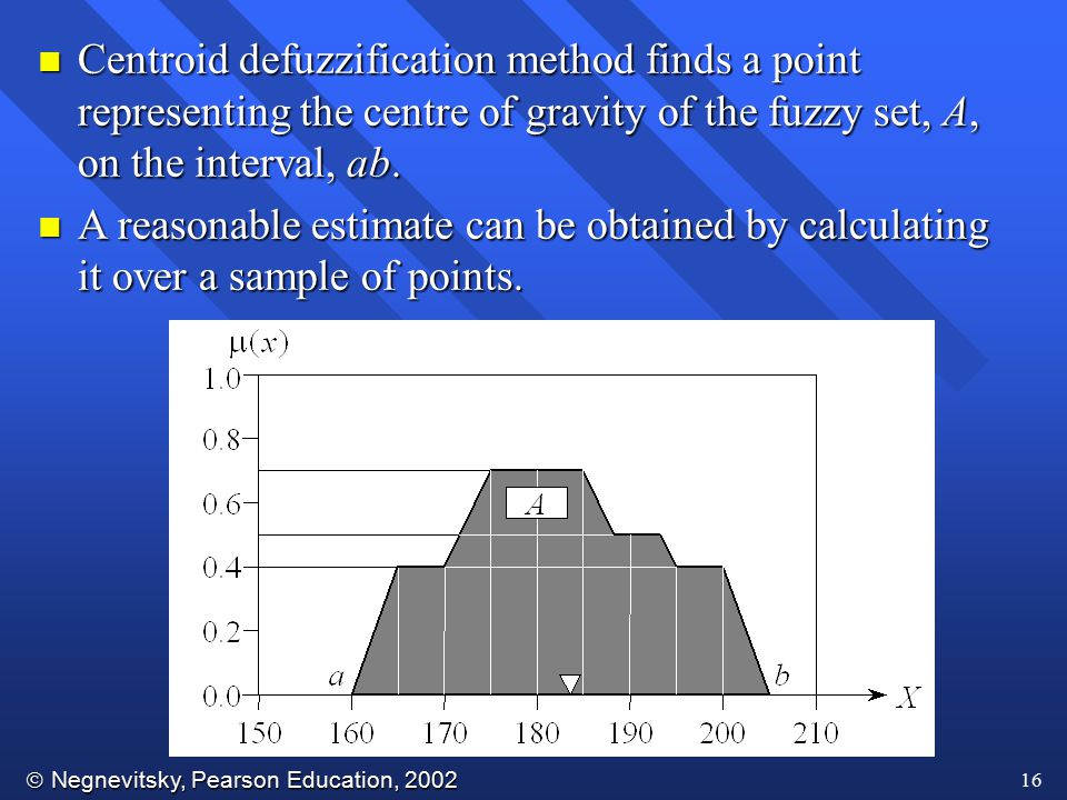  Negnevitsky, Pearson Education, 2002 16 n Centroid defuzzification method finds a point representing the centre of gravity of the fuzzy set, A, on t