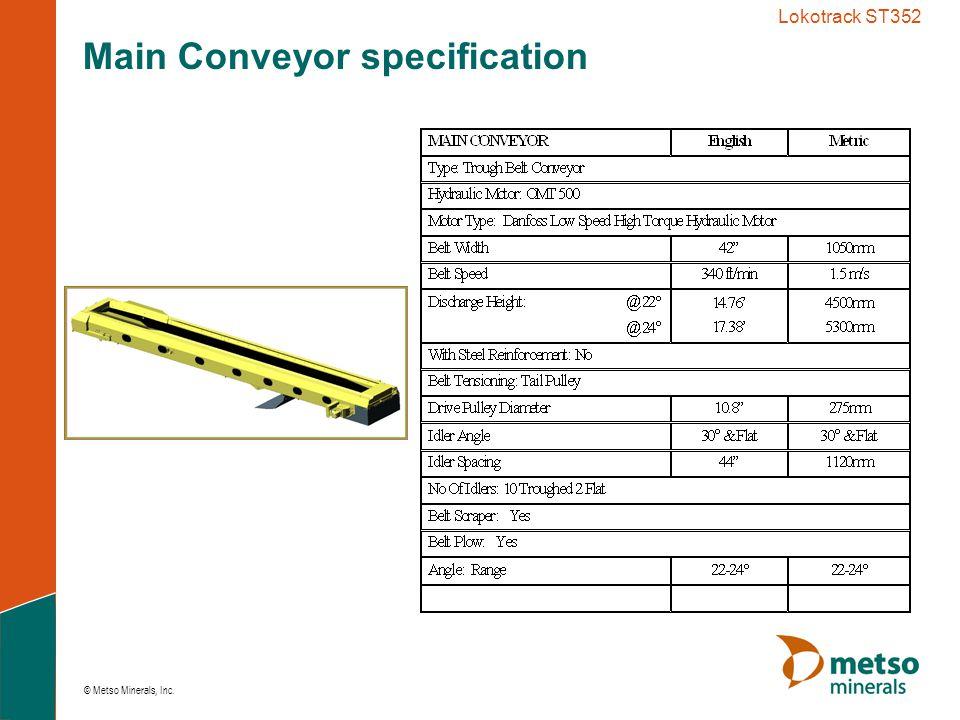 © Metso Minerals, Inc. Lokotrack ST352 Main Conveyor specification
