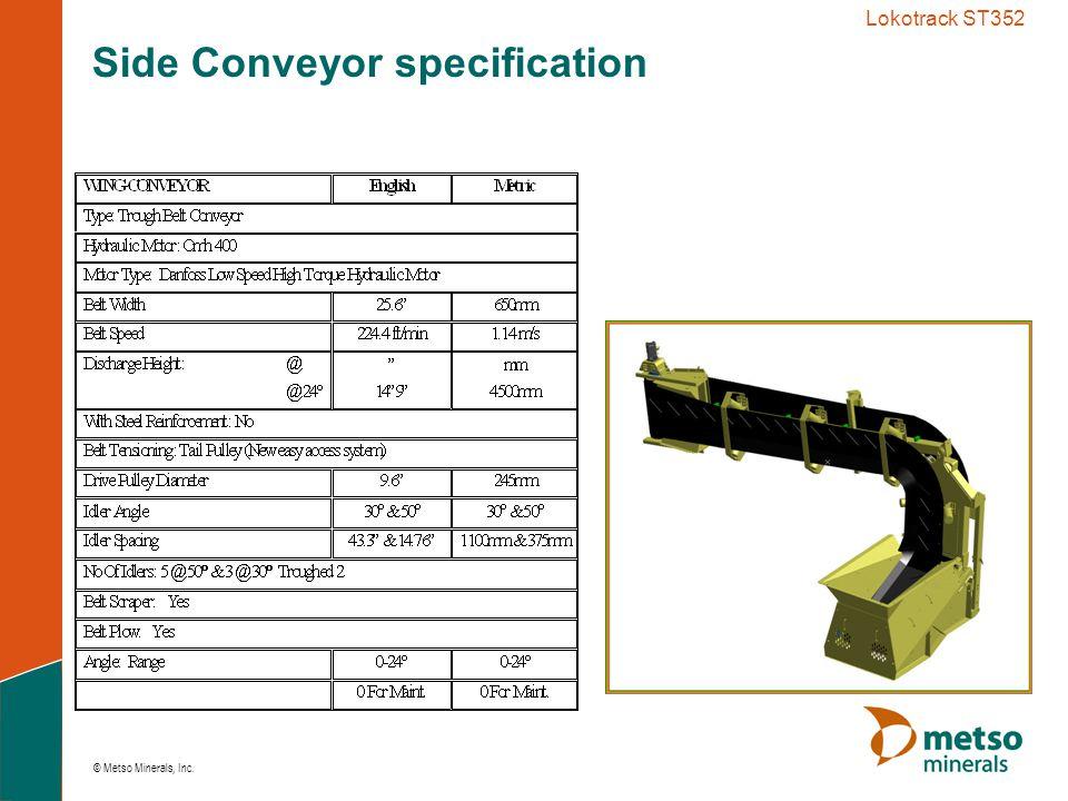© Metso Minerals, Inc. Lokotrack ST352 Side Conveyor specification