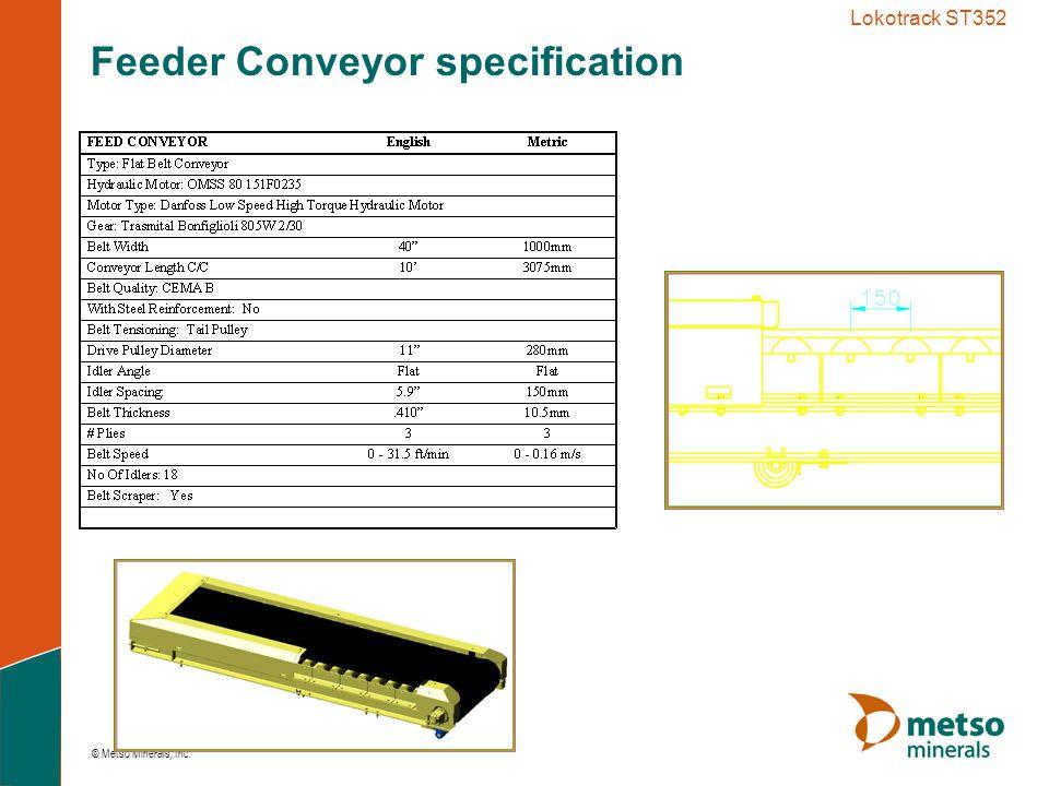 © Metso Minerals, Inc. Lokotrack ST352 Feeder Conveyor Layout