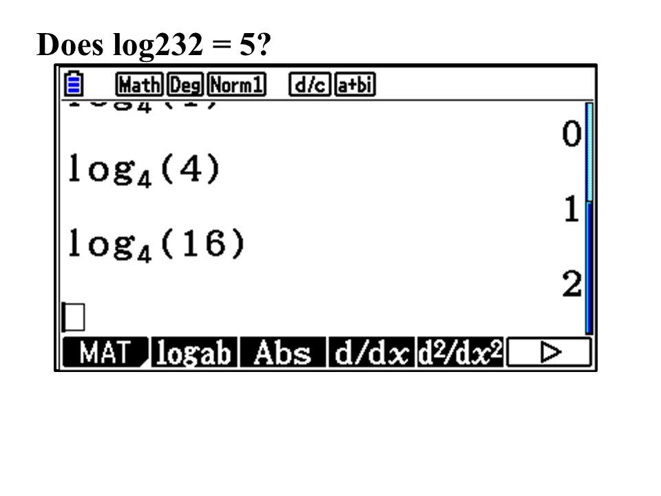 Does log232 = 5
