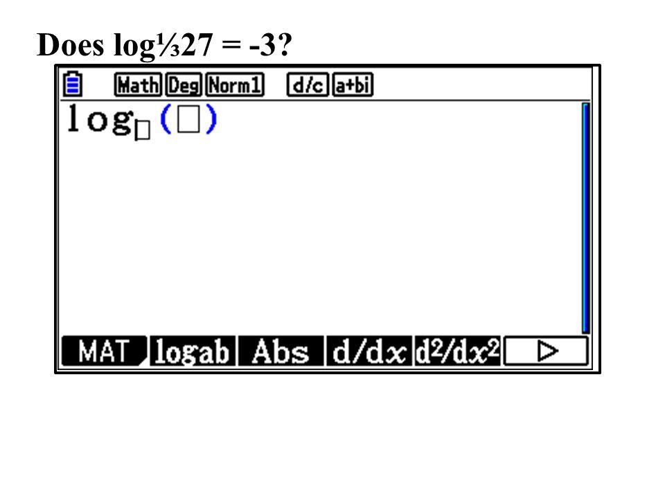 Does log⅓27 = -3