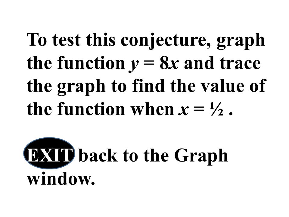 To test this conjecture, graph the function y = 8x and trace the graph to find the value of the function when x = ½. EXIT back to the Graph window.