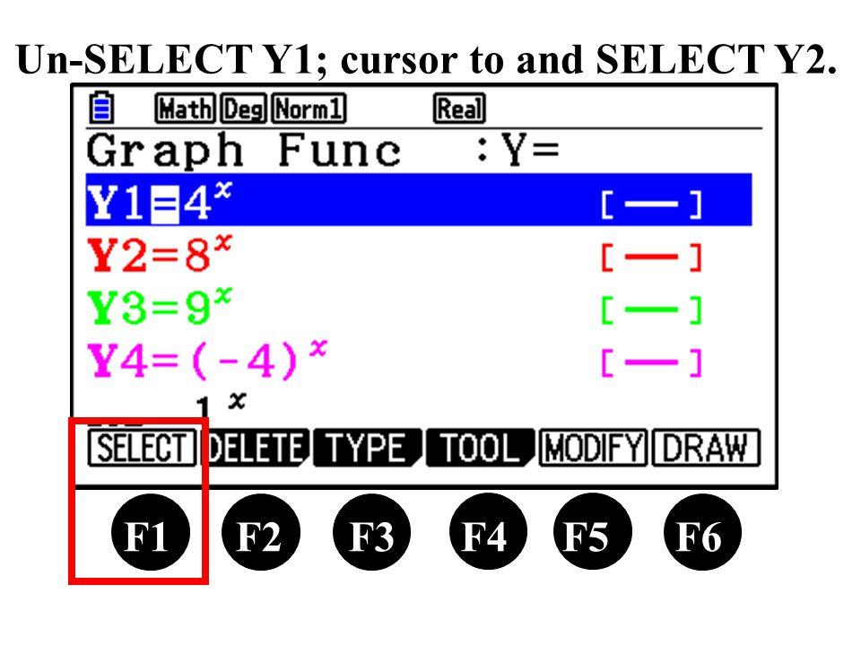 Un-SELECT Y1; cursor to and SELECT Y2. F1 F2 F3 F4 F5 F6
