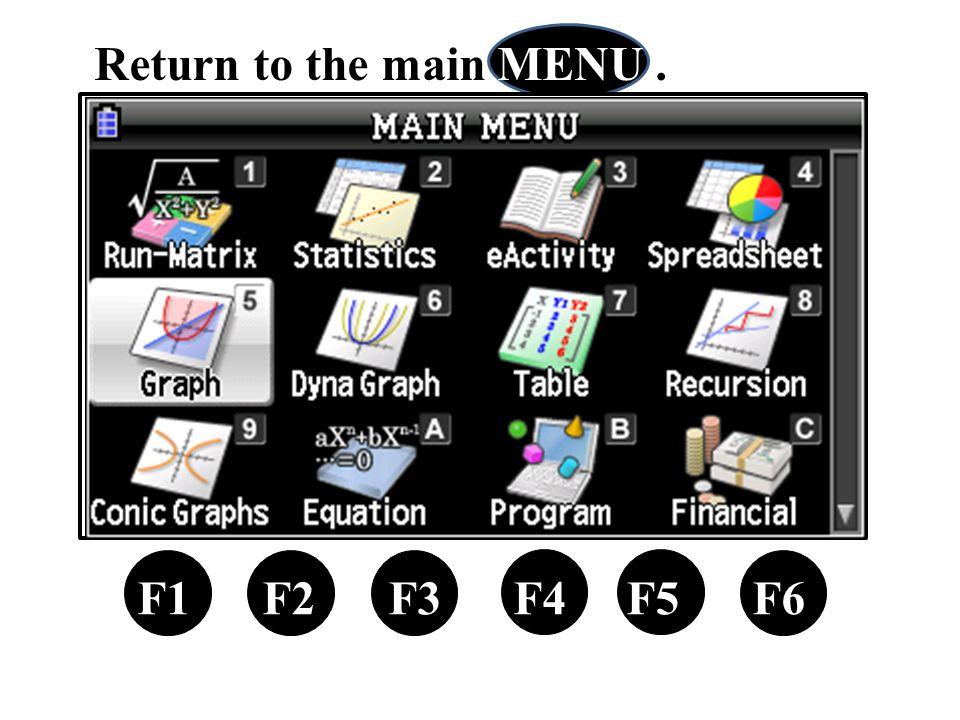 F1 F2 F3 F4 F5 F6 Return to the main MENU.