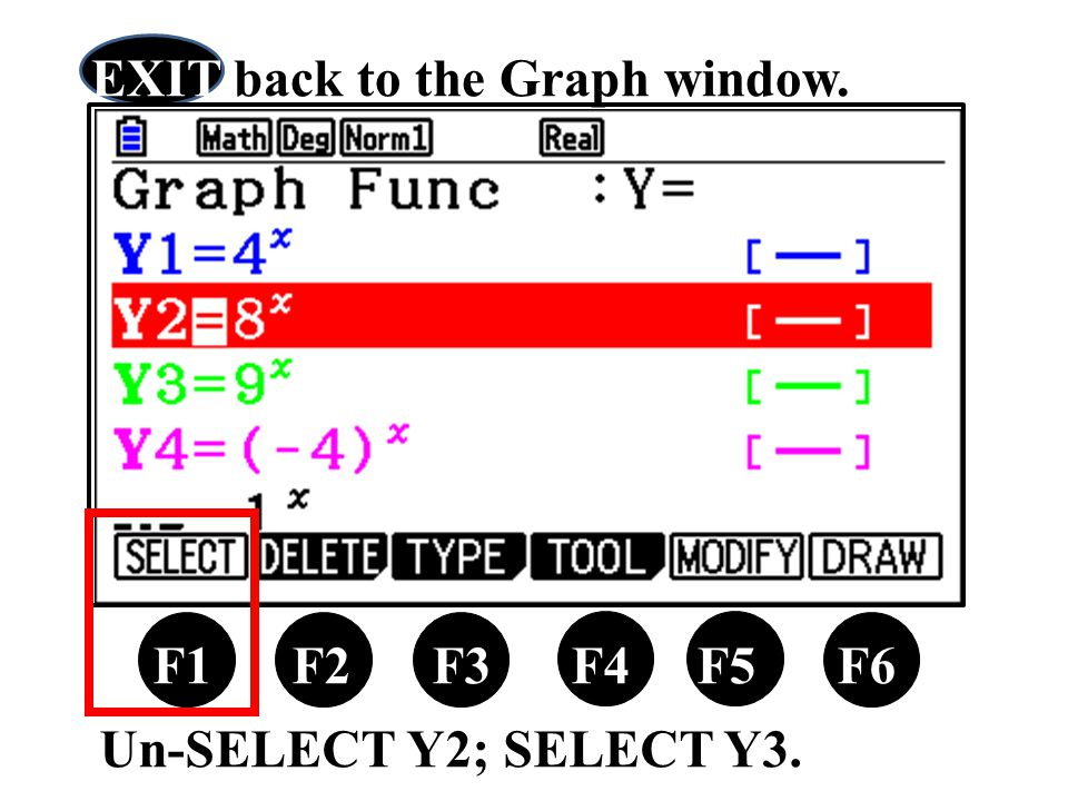 Un-SELECT Y2; SELECT Y3. F1 F2 F3 F4 F5 F6 EXIT back to the Graph window.