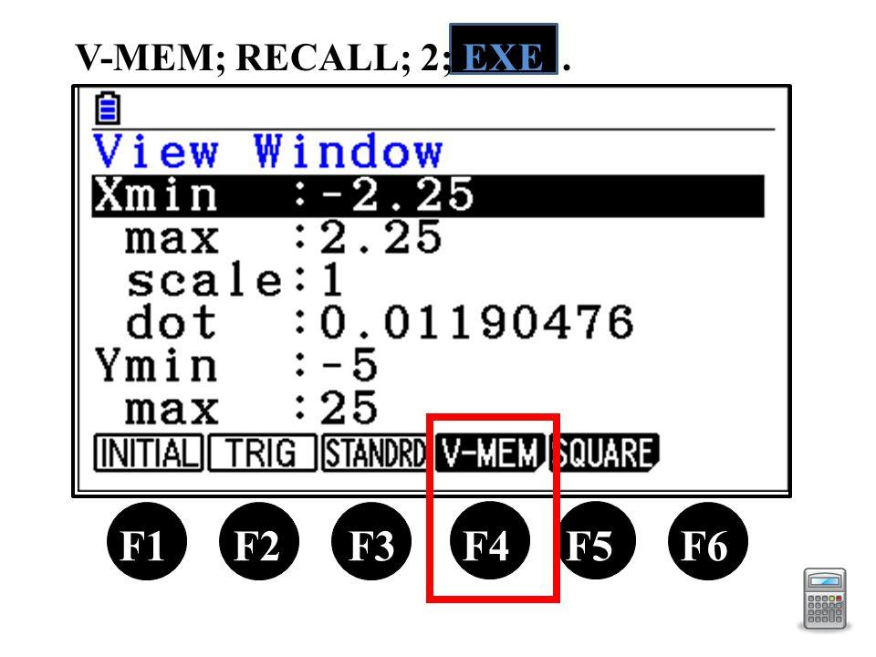 V-MEM; RECALL; 2; EXE. F1 F2 F3 F4 F5 F6