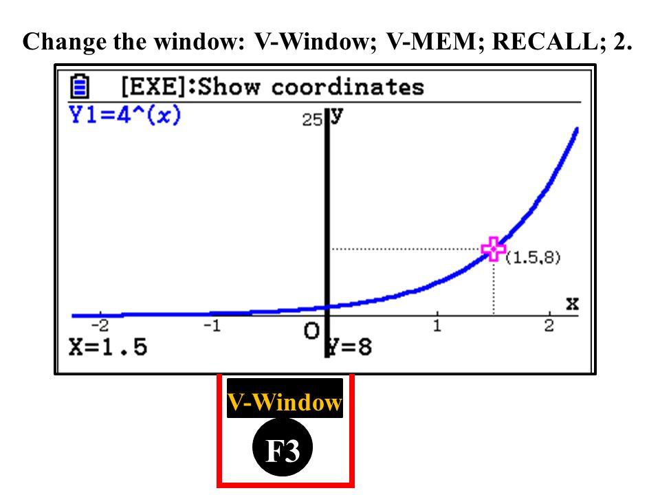 F1 F2 F3 F4 F5 F6 V-Window Change the window: V-Window; V-MEM; RECALL; 2.