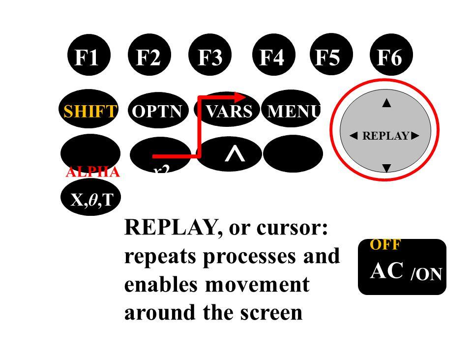 tan → OFF AC /ON F1 F2 F3 F4 F5 F6 ▲ ◄ REPLAY ► ▼ SHIFT OPTN VARS MENU ALPHA x2 ^ EXIT X,θ,T REPLAY, or cursor: repeats processes and enables movement