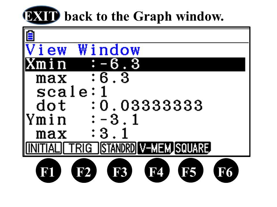 X,θ,T F1 F2 F3 F4 F5 F6 EXIT back to the Graph window.