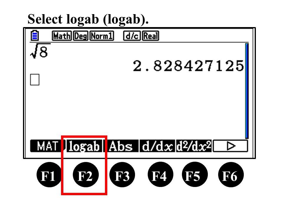 F1 F2 F3 F4 F5 F6 Select logab (logab).