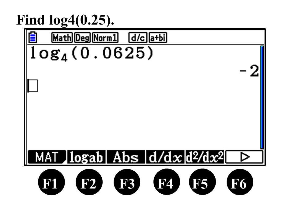 F1 F2 F3 F4 F5 F6 Find log4(0.25).